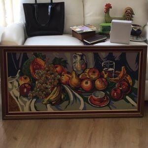 Vintage needlepoint colourful framed fruits